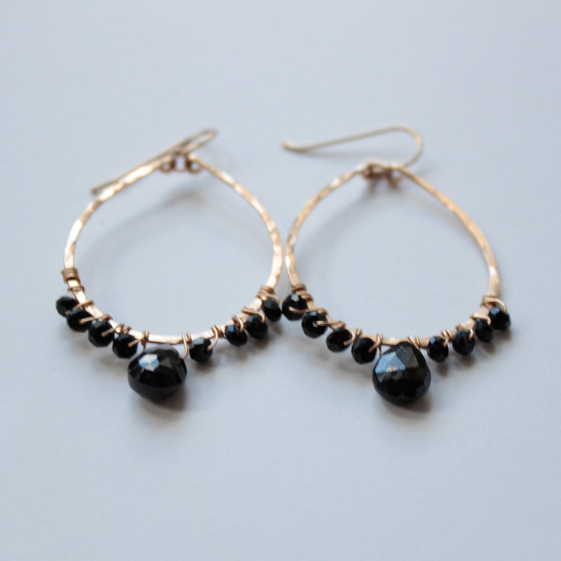 black spinel and gold teardrop hoop earrings by delia langan jewelry