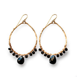 black spinel and gold earrings by delia langan jewelry