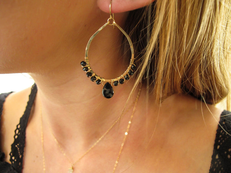 black spinel wire wrapped hammered hoop earrings in 14k gold filled by delia langan jewelry