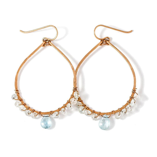 light blue aquamarine and gold hammered teardrop hoop earrings wire wrapped by delia langan jewelry