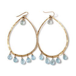14k gold filled blue aquamarine chandelier gemstone hoops on white surface