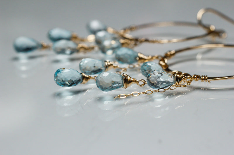 closeup of blue topaz gemstone earrings handmade by delia langan jewelry
