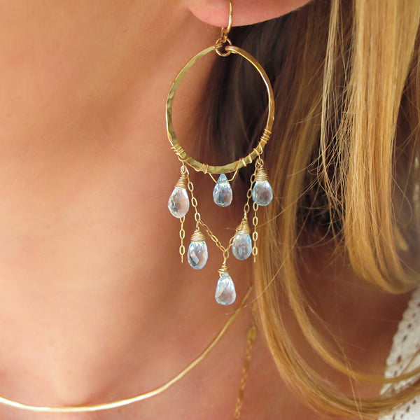 blue topaz chandelier earrings handmade gold fill earrings by delia langan jewelry