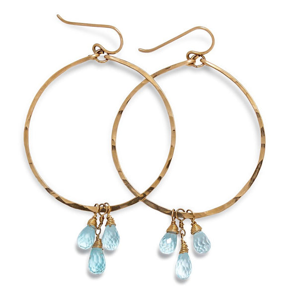 blue topaz and 14k gold filled hammered hoop earrings by tahastaffingsolutions