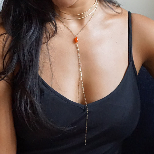 orange carnelian y shaped choker necklace