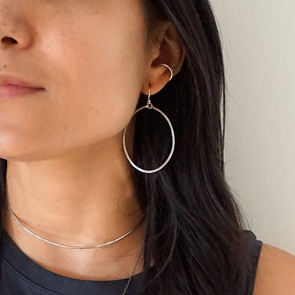 silver hoop earrings and silver cartilage hoop