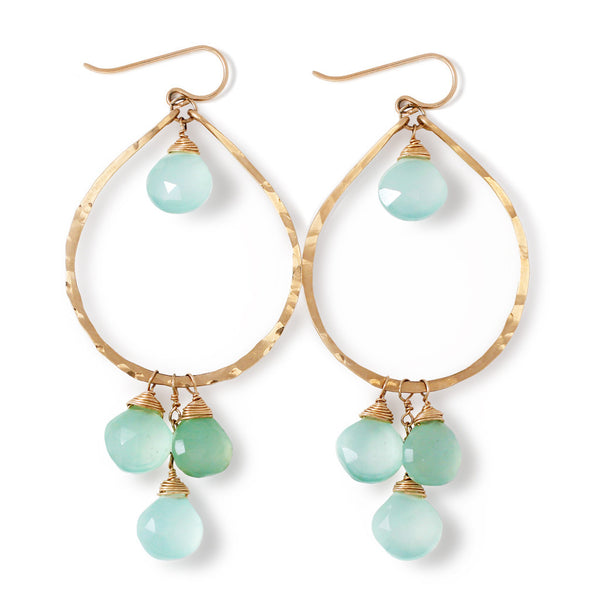 large blue chalcedony and gold teardrop earrings