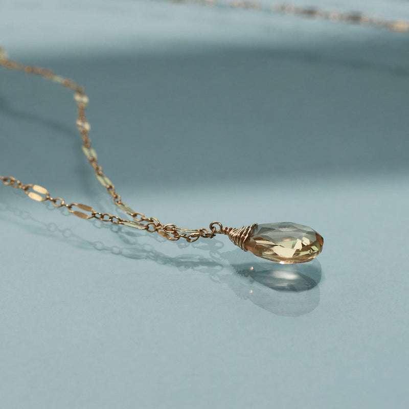 champagne quartz and gold necklace