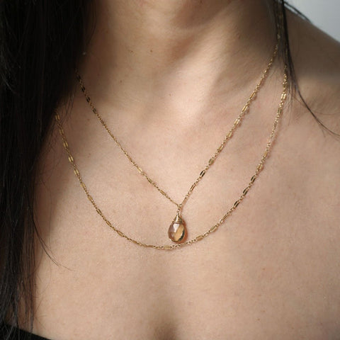 champagne quartz wrap necklace on 14k gold filled chain handmade by delia langan jewelry