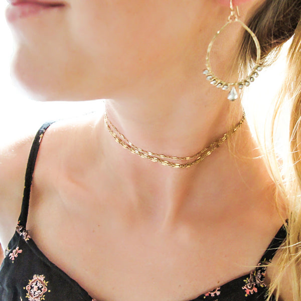 delicate gold choker necklace gold layered choker necklace