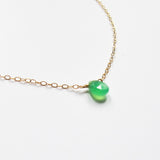 green chrysoprase and gold necklace by delia langan jewelry