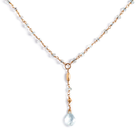 aquamarine and gold beaded y necklace by delia langan jewelry