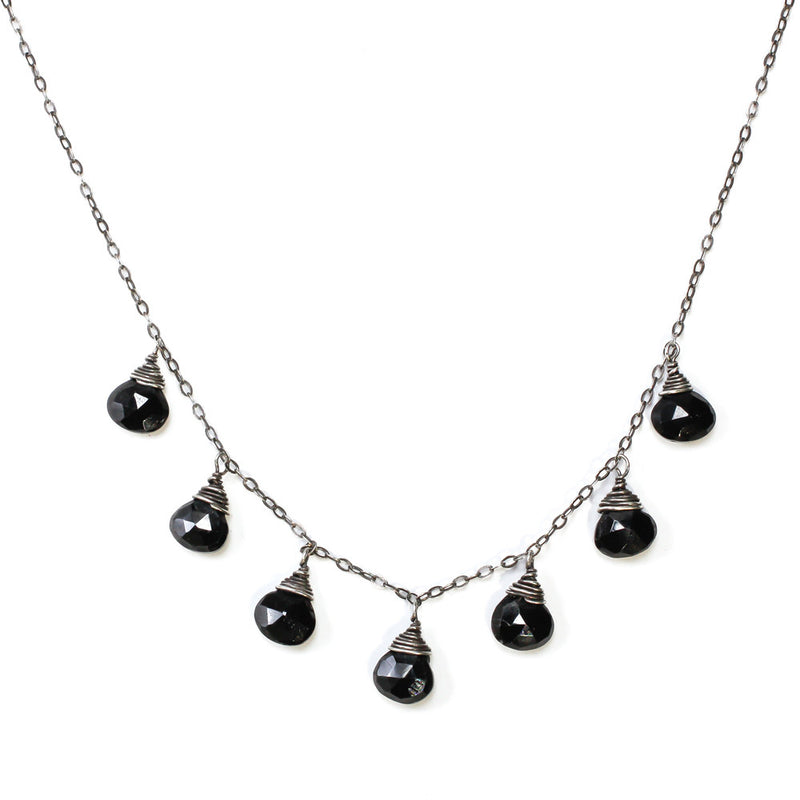 black spinel and oxidized silver necklace