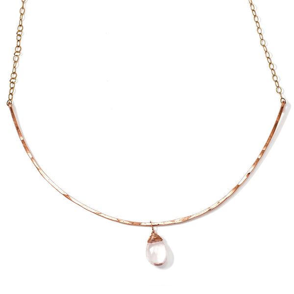 Rose Quartz Rose Gold Arc Necklace