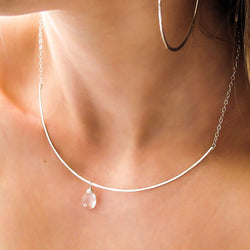 silver crystal quartz arc necklace by delia langan jewelry