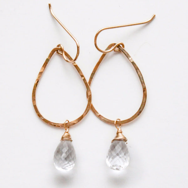 Gemstone Teardrop Hoops - Crystal Quartz