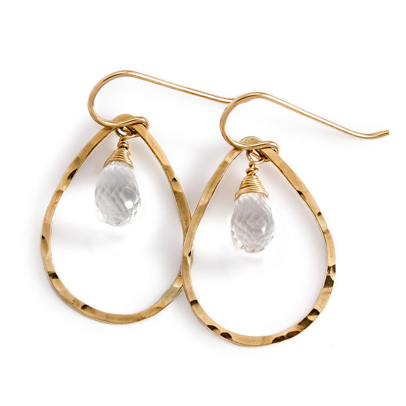 Teardrop Gemstone Hoops - Crystal Quartz