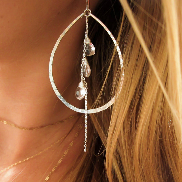 crystal quartz and sterling silver large hammered teardrop hoop earrings