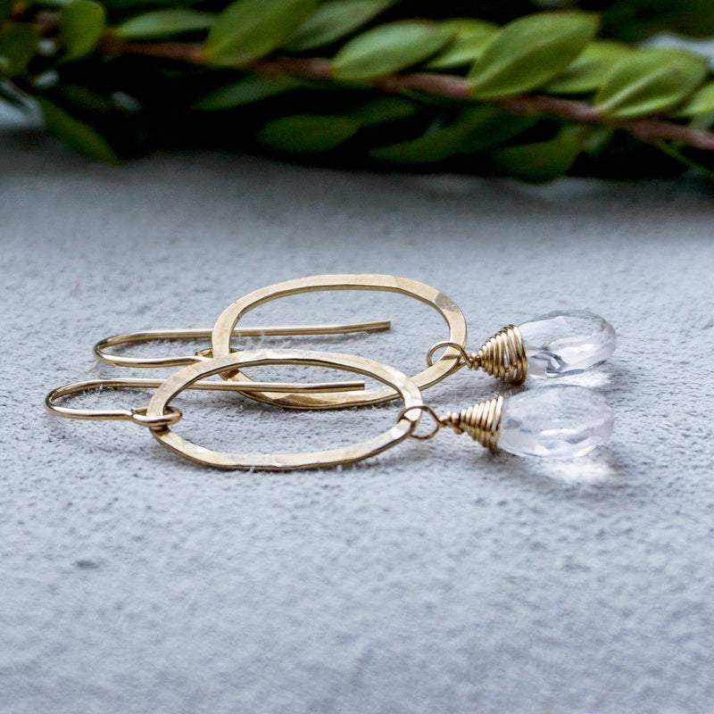 crystal quartz and gold oval small drop earrings by delia langan jewelry