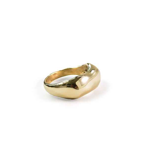 curve ring on white surface by delia langan jewelry