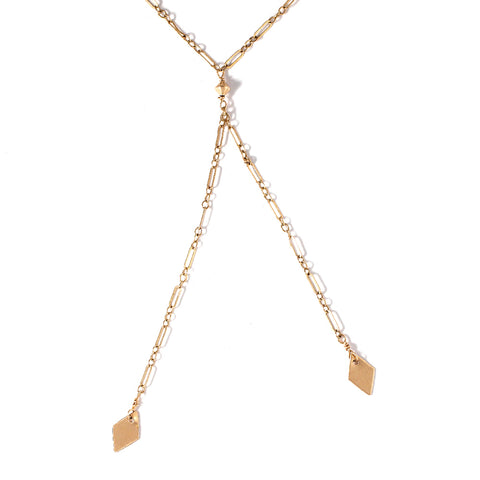 Lariat with Diamond Shaped Charms