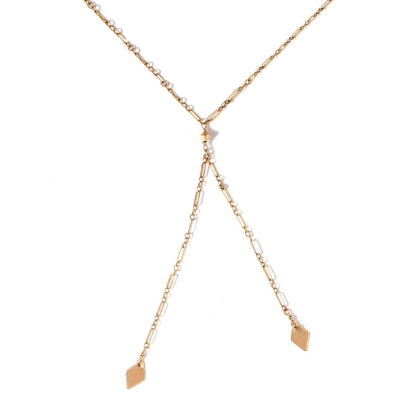 gold y shaped lariat necklace with diamond shaped pendants