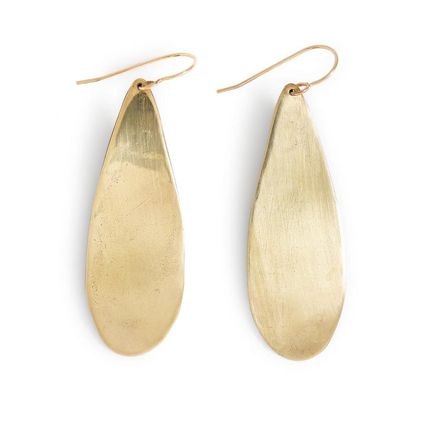 extra large brass teardrop earrings