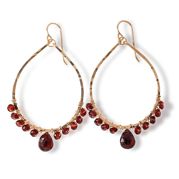 Garnet Arc Earrings