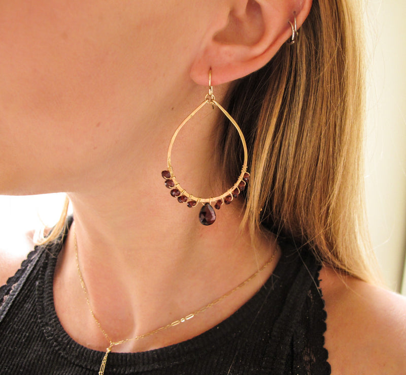 garnet and gold teardrop earrings