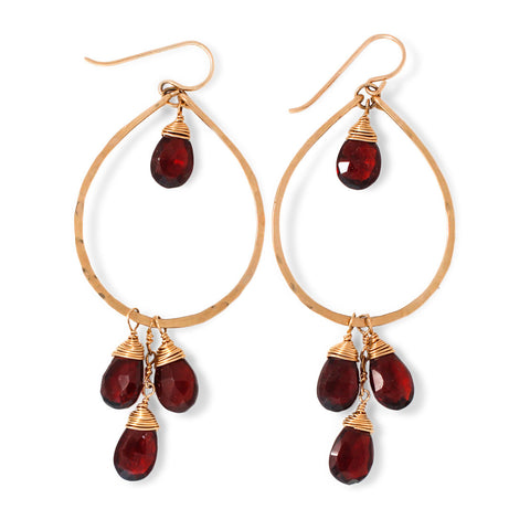 Garnet Dreamcatcher Hoops