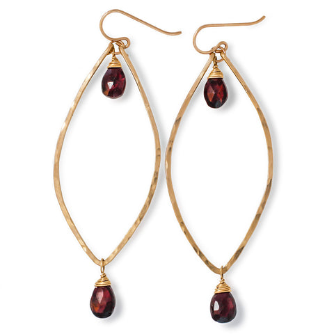 Garnet Leaf Hoop Earrings