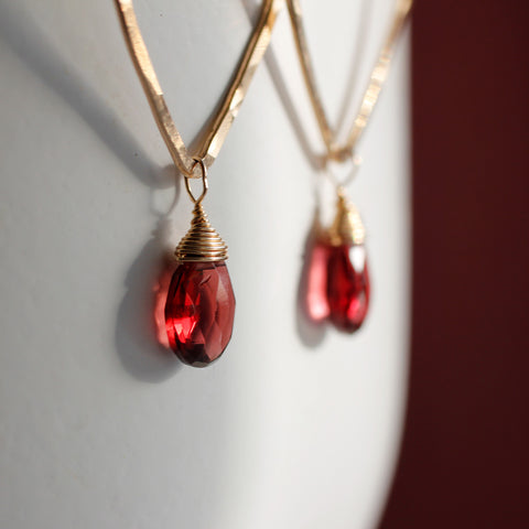 Garnet Leaf Earrings