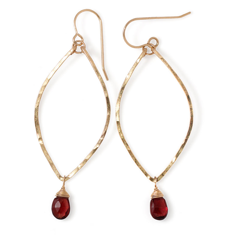 garnet and hammered gold earrings