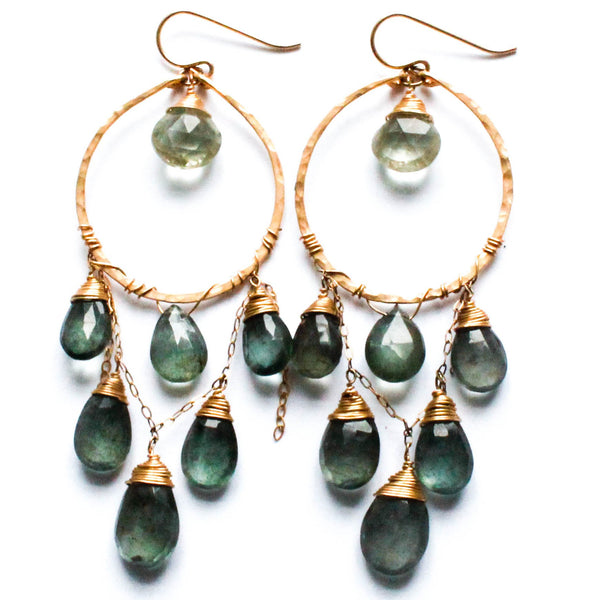 moss aquamarine cascade hoops by delia langan jewelry 14k gold filled hammered hoop earrings with gemstone