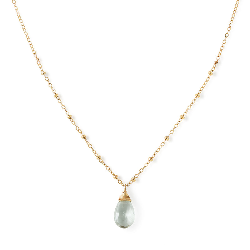 dainty green amethyst and gold pendant