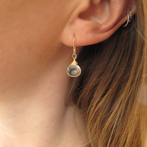 small green amethyst drop earrings