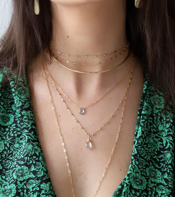delicate layered green amethyst gemstone and gold necklaces