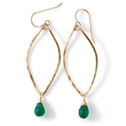 green onyx leaf shaped hoop earrings in gold by delia langan jewelry
