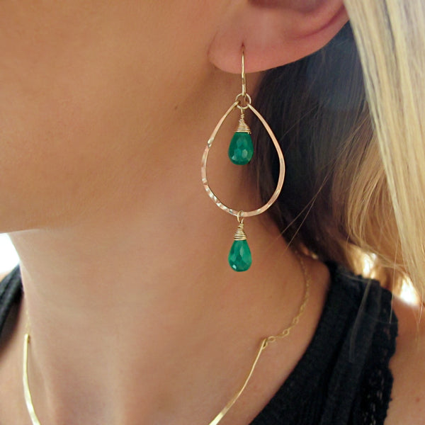 Green Onyx Tiered Drop Earrings
