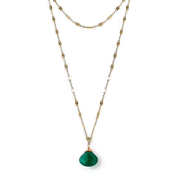 green onyx and gold choker wrap necklace