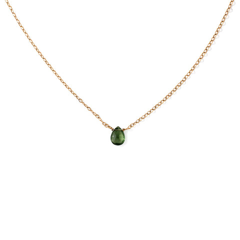 green gemstone necklace on gold chain by delia langan jewelry
