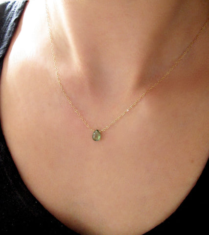 green quartz necklace on delicate gold chain by delia langan jewelry