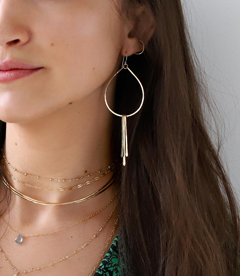 gold teardrop fringe earrings