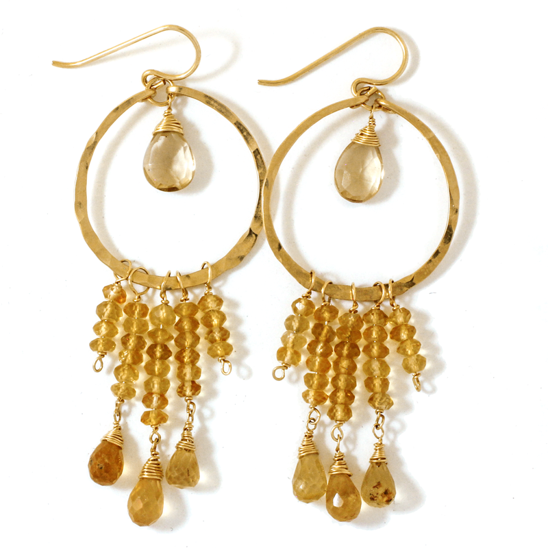 citrine hessonite and champagne quartz gold colored gemstone earrings