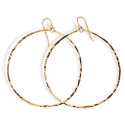 gold extra large round hammered hoop earrings handmade jewelry in williamsburg brooklyn by delia langan jewelry