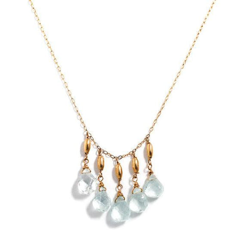 blue aquamarine gold filled long necklace by delia langan