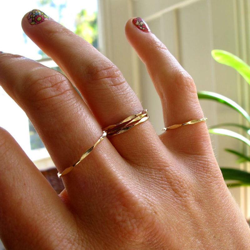 I'm Hammered - Wavy Gold Stacking Rings