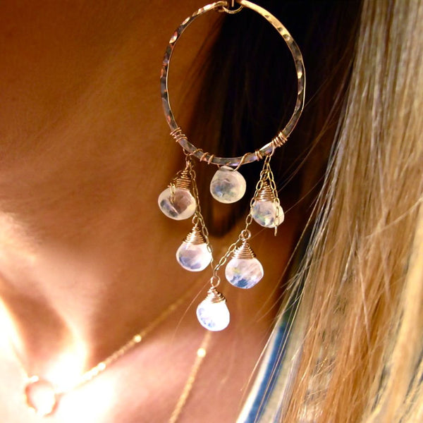 moonstone and 14k gold filled chandelier earrings by delia langan jewelry