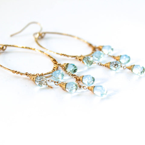 blue topaz and gold chandelier hoop earrings by delia langan jewelry