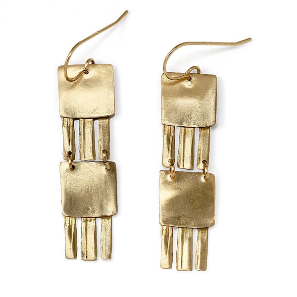 jellyfish double drop earrings in brass by delia langan jewelry
